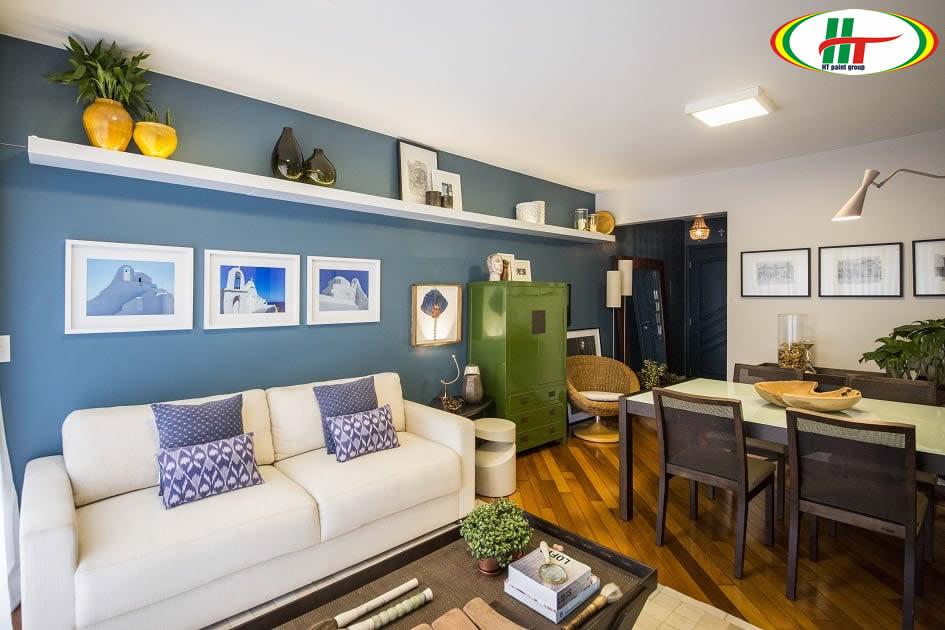 Tổng hợp các mẫu phòng khách màu xanh dương hút ánh nhìn