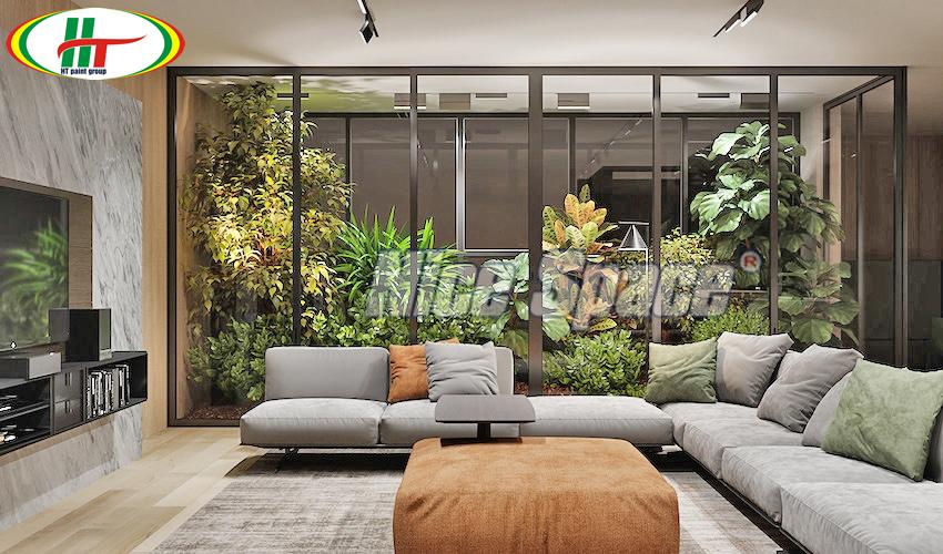 Nhà đẹp với thiết kế phòng khách hiện đại gần gũi thiên nhiên